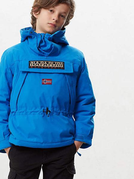 Napapijri童装品牌2019秋冬儿童加棉套头棉服 有臂章版
