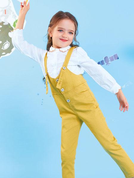 欧布豆童装品牌2019秋冬做旧破洞条灯芯绒吊裆背带裤休闲裤