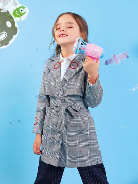 欧布豆童装品牌2019秋冬女童风衣中长款英伦复古格子休闲小学生春秋女孩外套