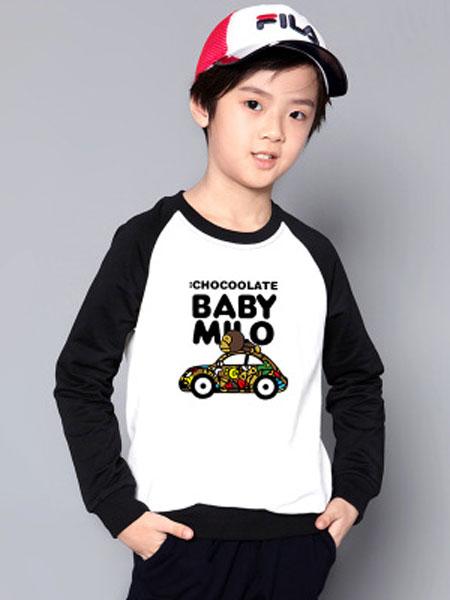 卫思礼童装品牌2019春夏卫衣男童潮牌印花套头衫儿童圆领撞色卫衣