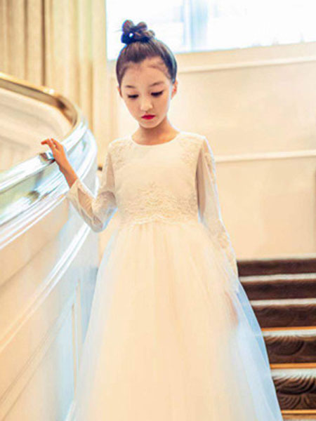 天阜童装品牌2019秋季很仙的泡泡袖网纱连衣裙女白色裙子可爱