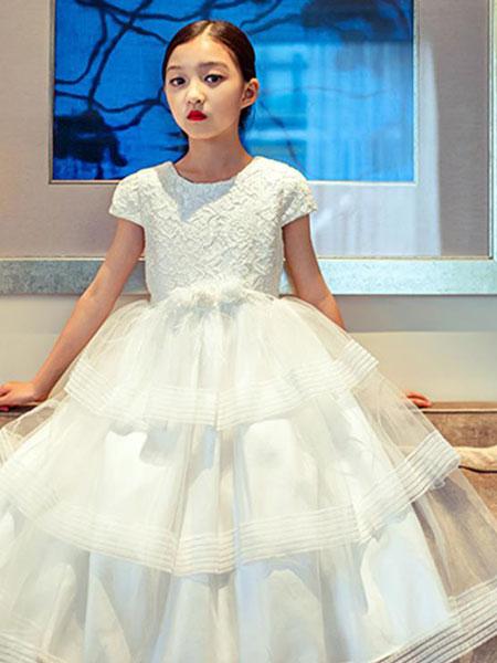 天阜童装品牌2019秋季很仙的泡泡袖网纱连衣裙女白色裙子