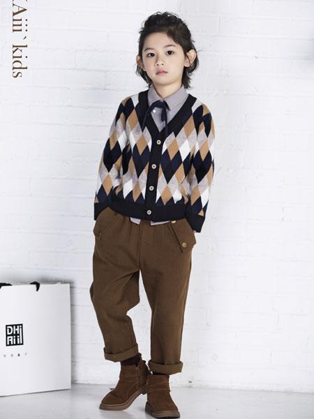 DHAiii.kids童装品牌2019秋冬菱形格毛衣中小童针织开衫上衣韩版V领毛线衣