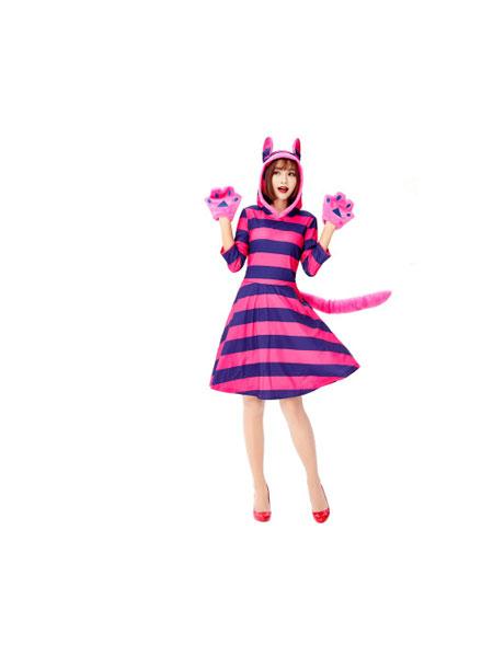 逸品尚城童装品牌2019春夏女仆装护士医生服小红帽cosplay演出衣服狗狗 紫色条纹猫