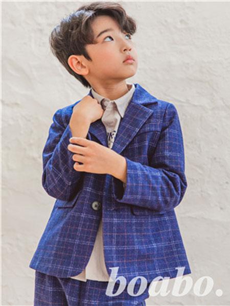 宝儿宝boabo童装品牌2019秋冬儿童小西服男孩韩版演出服花童格子礼服