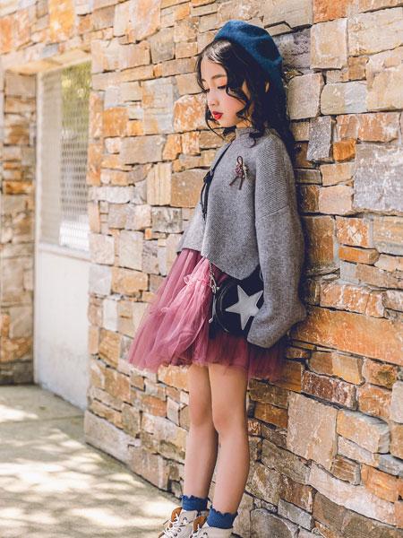 韩米娜风尚童装品牌2019秋冬新款可爱娃娃领开叉长袖衬衫上衣
