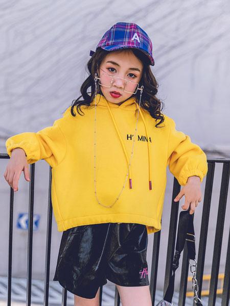 韩米娜风尚童装品牌2019秋冬灯笼袖蝙蝠袖连帽卫衣女帽衫上衣