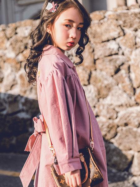 韩米娜风尚童装品牌2019秋冬长款宽松长袖雪纺薄款韩范防晒衬衫