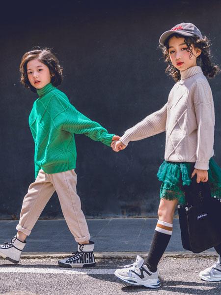 韩米娜风尚童装品牌2019秋冬套头高领针织衫上衣儿童宝宝打底衫