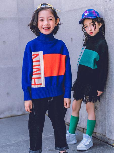 韩米娜风尚童装品牌2019秋冬宽松撞色潮流针织衫学院风高领线衣