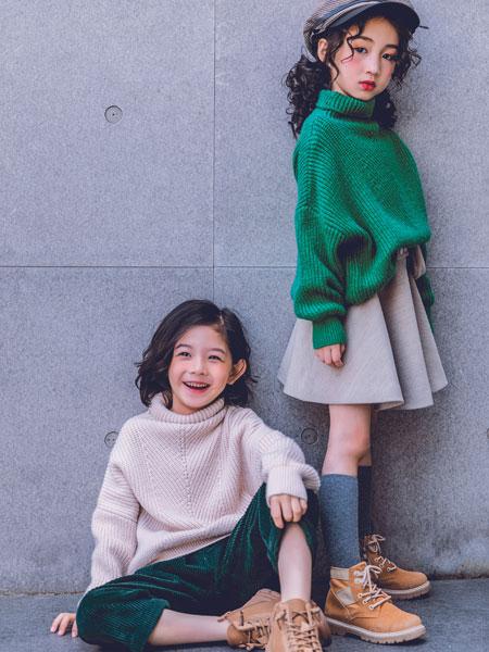 韩米娜风尚童装品牌2019秋冬松毛衣女套头慵懒bf风粗毛线蝙蝠袖毛衫