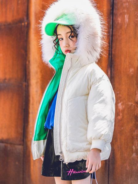 韩米娜风尚童装品牌2019秋冬新款时尚潮流气质个性大毛领羽绒服