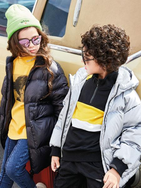 淘气贝贝童装品牌2019秋冬羽绒服女宽松大码时尚连帽妈妈款羽绒外套