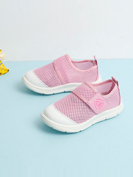 人本鞋业童鞋品牌2019春夏粉红色帆布鞋