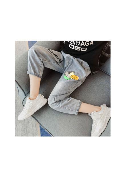 凡品童装品牌2019春夏韩版中大童洋气女孩印花牛仔裤百搭童裤外穿