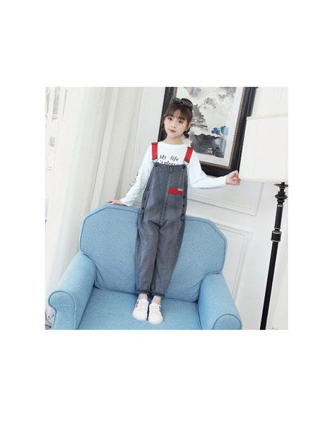 凡品童装品牌2019春夏韩版中大童长袖T恤吊带裤两件套