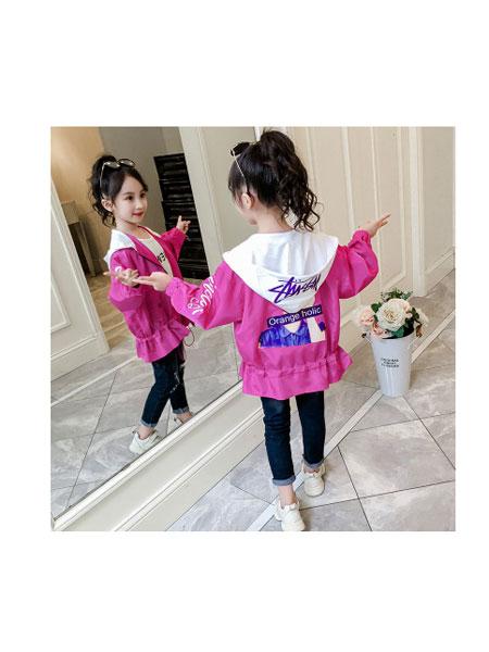 凡品童装品牌2019春夏韩版中大童洋气儿童装女连帽中长款外套