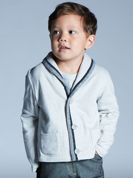 baby baby cool童装品牌2019秋冬针织开衫全棉圆翻领毛衣