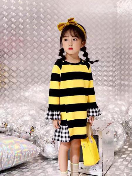 叮当猫潮童童装品牌2019秋冬韩版女童拼接条纹卫衣连衣裙