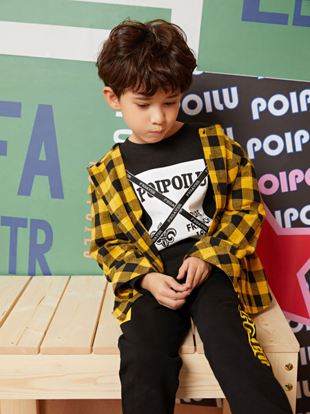 poipoilu(泡泡噜)童装品牌2019秋冬时尚纯棉格子衬衫