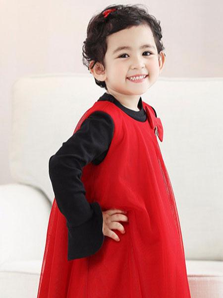 帕贝莎娜pabasana童装品牌2019秋冬可爱女童红色裙