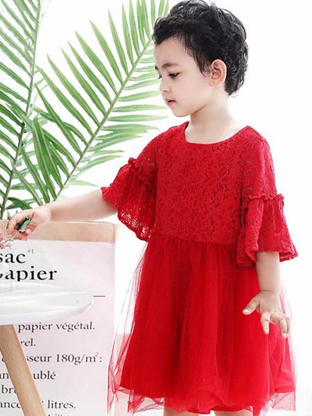 帕贝莎娜pabasana童装品牌2019秋冬气质女童大红裙
