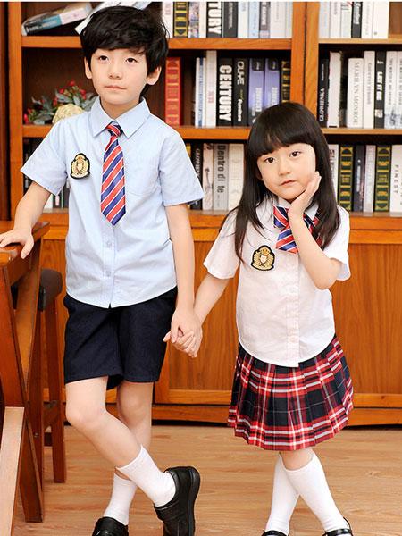 动咔校服园服2019春夏英伦风新款学院风女童短袖裙子小学生校服班服