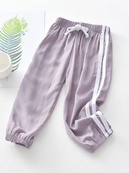 欧芭拉童装品牌2019春夏防蚊休闲裤浅紫色
