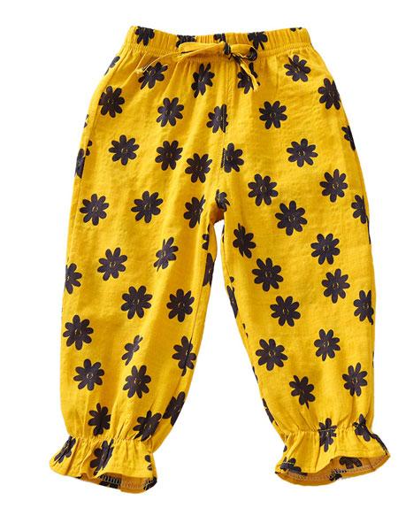 欧芭拉童装品牌2019春夏防蚊灯笼裤黄色印花