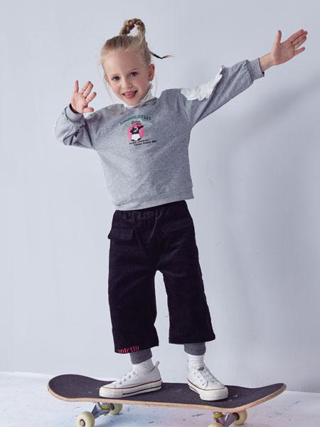 小鲨诺拉童装品牌2019秋冬宽松长袖上衣系带短裤运动两件套