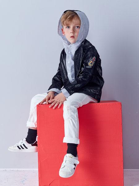 小鲨诺拉童装品牌2019秋冬新款休闲厚马甲棉背心皮夹克两件套