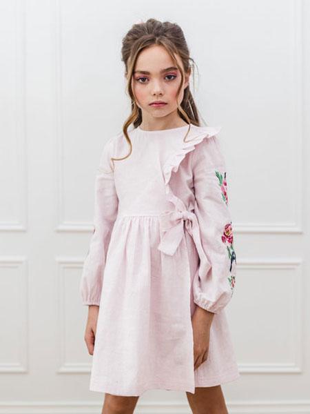 Petite Amalie童装品牌2019春夏粉色印花裙