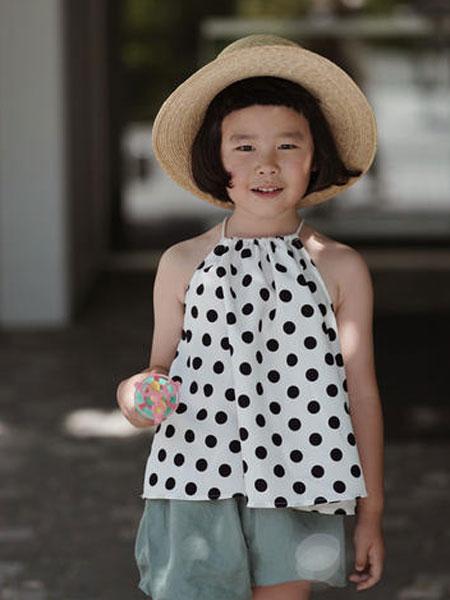 mes kids des flerus童装品牌2019春夏波点无袖上衣