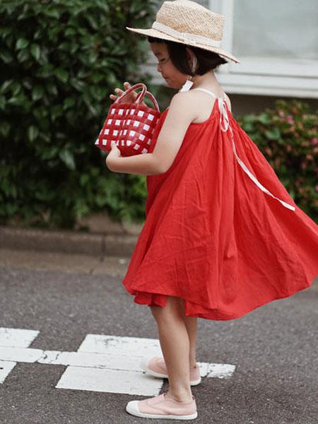 mes kids des flerus童装品牌2019春夏红色无袖裙子