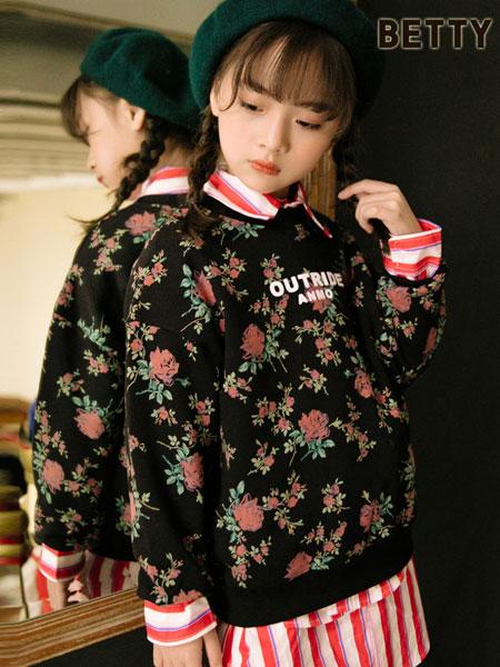 贝蒂小羊童装品牌2019秋冬时尚街头短款甜美印花棉衣夹克外套