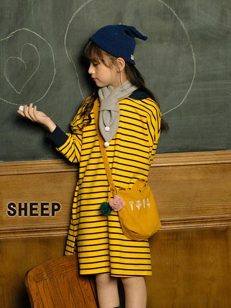 贝蒂小羊童装品牌2019秋冬新款条纹连衣裙中长款纯棉