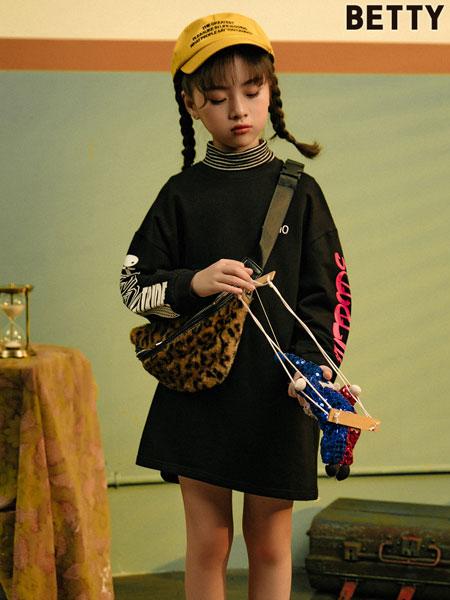 贝蒂小羊童装品牌2019秋冬新款印花套头连帽宽松纯棉外套