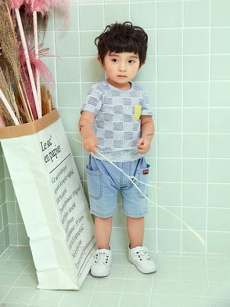 陌小样童装品牌2019春夏格子印花衬衫