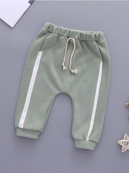 玉阑童装品牌2019秋冬浅绿色休闲裤
