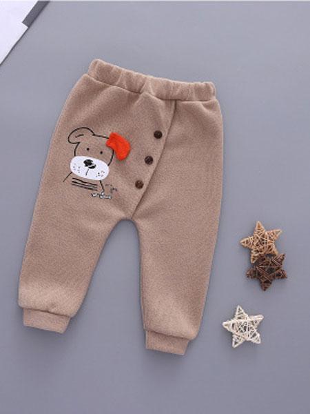 玉阑童装品牌2019秋冬褐色印花棉裤