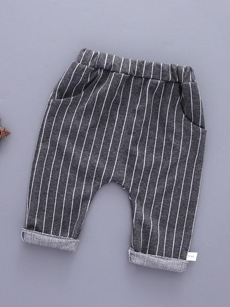 玉阑童装品牌2019秋冬条纹印花棉裤