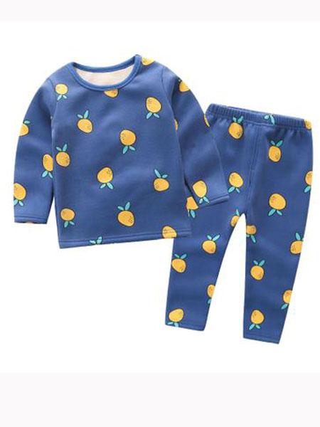 安美童装品牌2019春夏蓝色印花卫衣棉裤