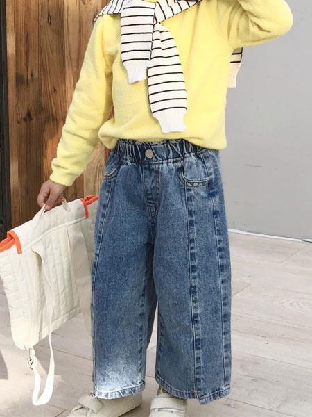 萌恩小酱童装品牌2019秋冬阔腿牛仔裤