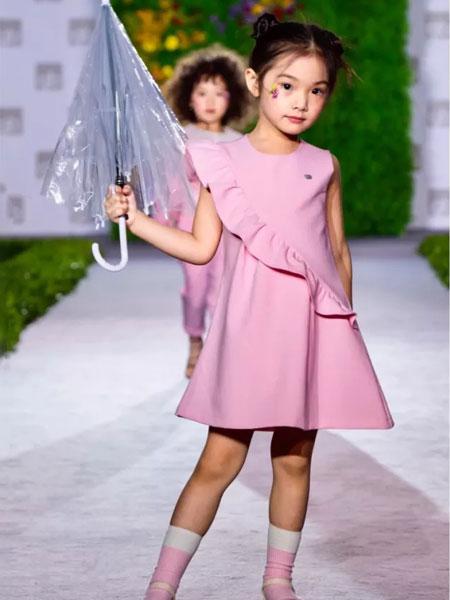 GBKIDS童装品牌2020春夏荷叶边连衣裙粉色