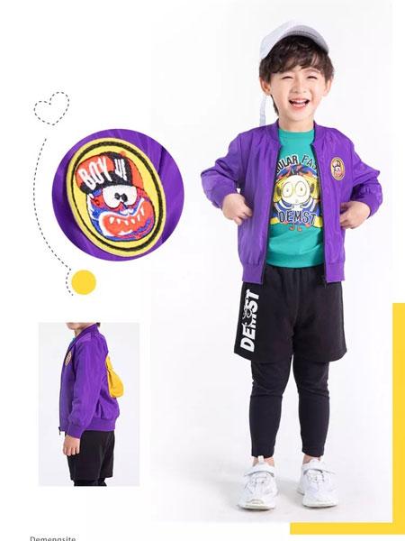 德蒙斯特童装品牌2019秋冬紫色休闲外套