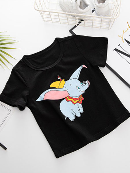 缤智童装品牌2019春夏卡通印花T恤