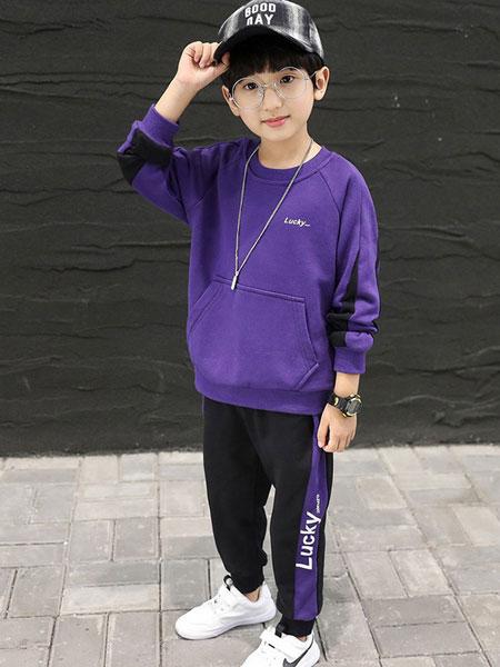 小象汉姆童装品牌2019秋冬紫色卫衣
