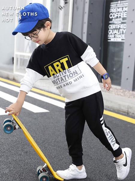 小象汉姆童装品牌2019秋冬黑白撞色卫衣