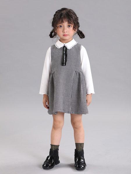 杰西凯童装品牌2019秋冬新款小香风假两件修身显瘦连衣裙