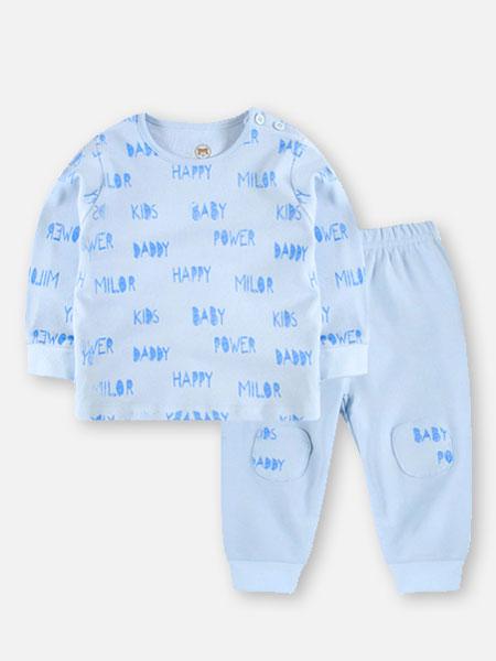贝儿童品童装品牌2019秋冬蓝色印花衣裤